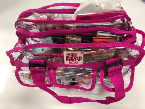 Pink PMB bag filled with products (MARCOS) - The Pink Makeup Box