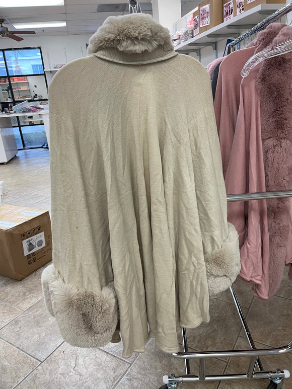 Beige Fur Coat ONE SIZE