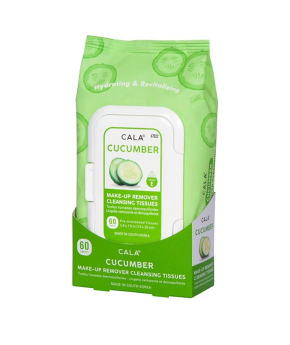 CALA MAKE-UP REMOVER CLEANSING TISSUES: CUCUMBER (60 SHEETS)