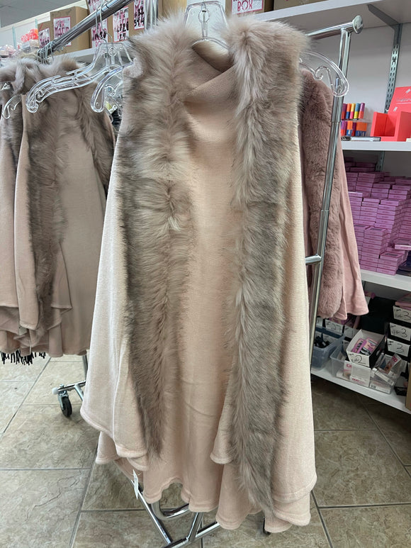 Rose Fur Coat ONE SIZE