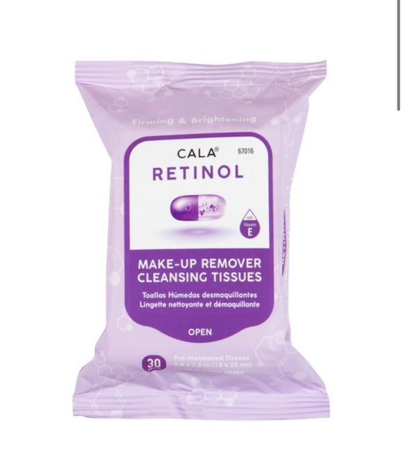 CALA MAKE-UP REMOVER CLEANSING TISSUES: RETINOL (30 SHEETS)