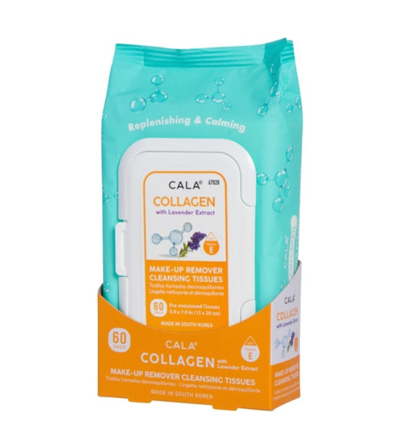 CALA MAKE-UP REMOVER CLEANSING TISSUES: COLLAGEN (60 SHEETS)