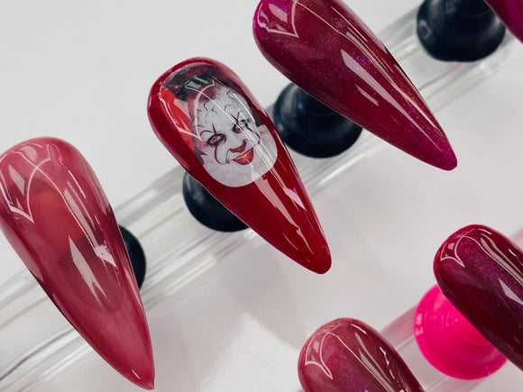 IT Pennywise Medium Stiletto Press on Gel X Nails