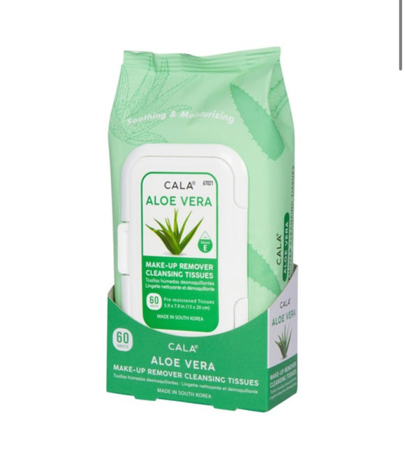 CALA MAKE-UP REMOVER CLEANSING TISSUES: ALOE VERA (60 SHEETS)