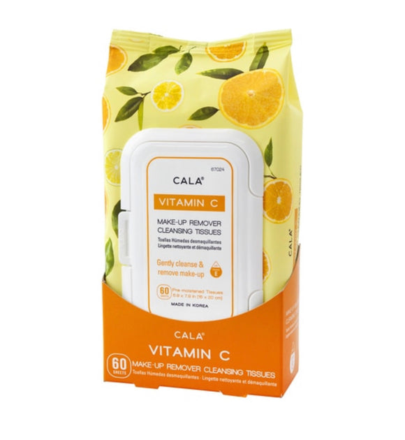 CALA MAKE-UP REMOVER CLEANSING TISSUES: VITAMIN C (60 SHEETS)