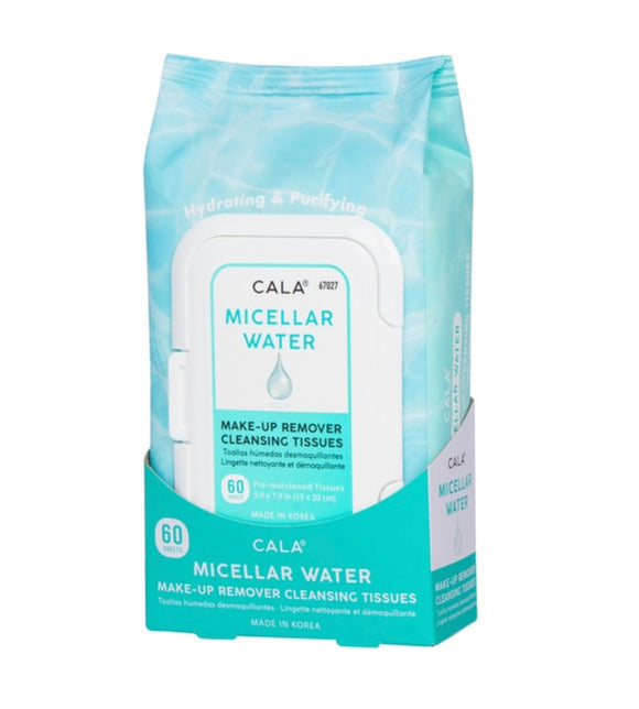 CALA MAKE-UP REMOVER CLEANSING TISSUES: MICELLAR WATER (60 SHEETS)