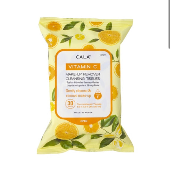 CALA MAKE-UP REMOVER CLEANSING TISSUES: VITAMIN C (30 SHEETS)