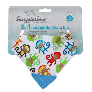2 in 1 Teether Bandana Bib  - Monkey