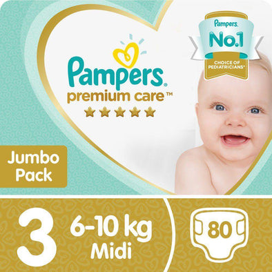 Pampers Premium Care - Size 3 Jumbo Pack - 80 Nappies