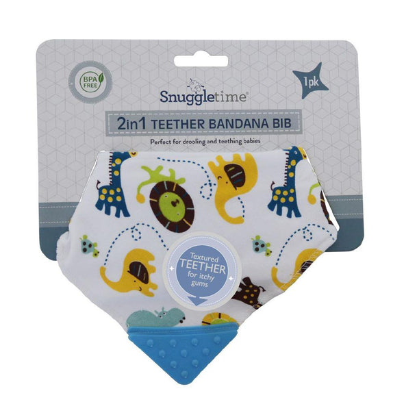 2 in 1 Teether Bandana Bib  - Blue Safari