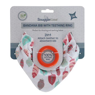 Bandana Bib with Teething Ring - Pink Feather