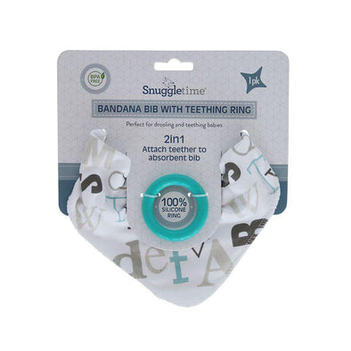Bandana Bib with Teething Ring - Blue Alphabet