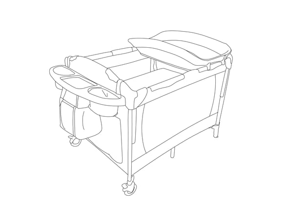 Camp Cot with changer and side storage