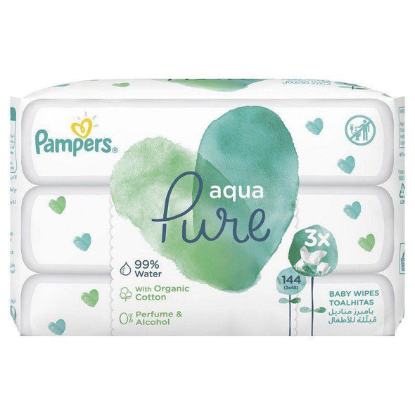 Pampers Aqua Pure Wipes - 3 x 48 - 144 Wipes - Lulla-Buy