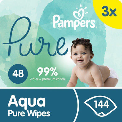 Pampers Aqua Pure Wipes - 3 x 48 - 144 Wipes