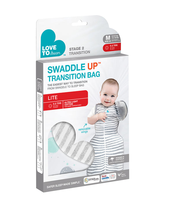 Swaddle UP™ 50/50 / Transition Bag – Lite 0.2 TOG White Circles