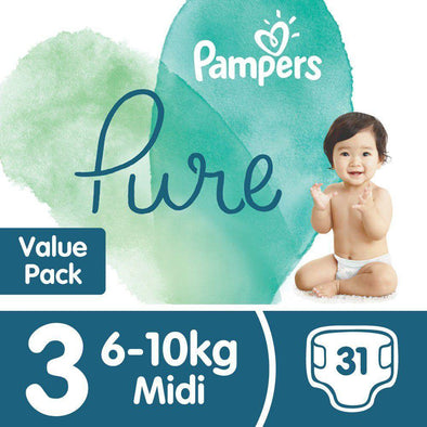 Pampers Pure Protection - Size 3 Value Pack - 31 Nappies