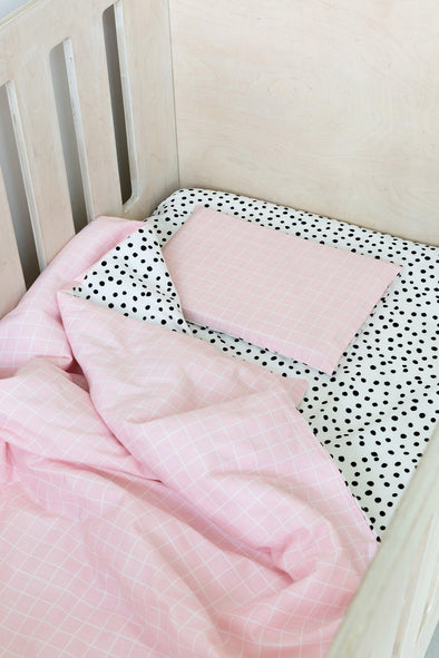 Pink Grid and Spotted Cot Duvet