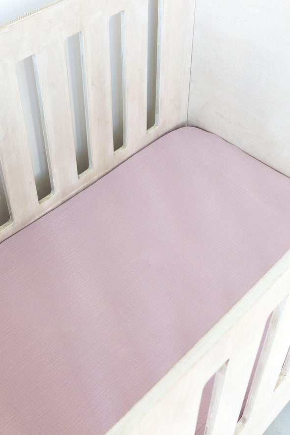 Dusty Pink Muslin Cot Fitted Sheet
