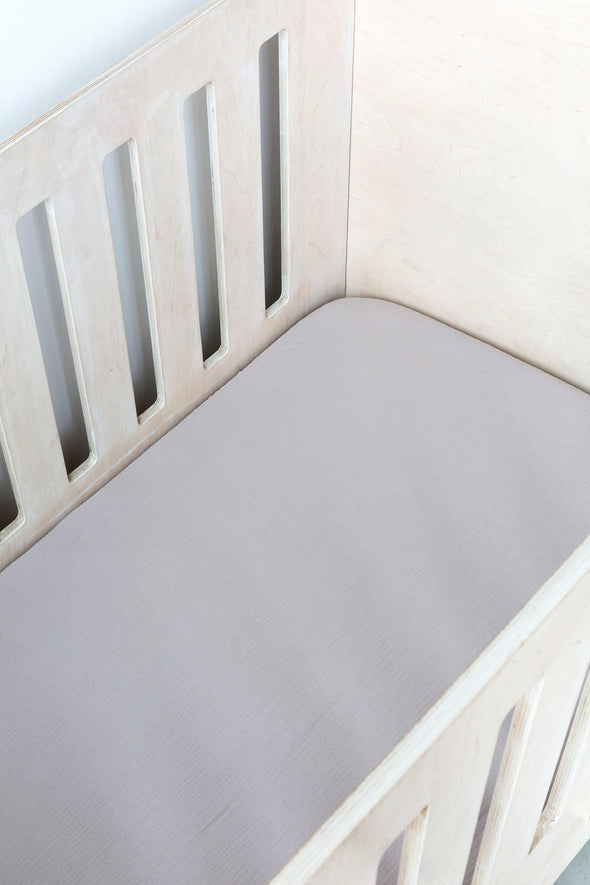 Grey Muslin Cot Fitted Sheet