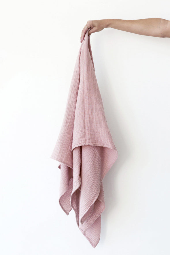 Muslin Swaddle Blanket - Dusty Pink