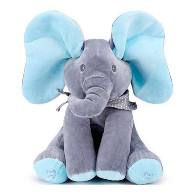 Plush Peek-a-Boo Singing Elephant - Blue - Lulla-Buy