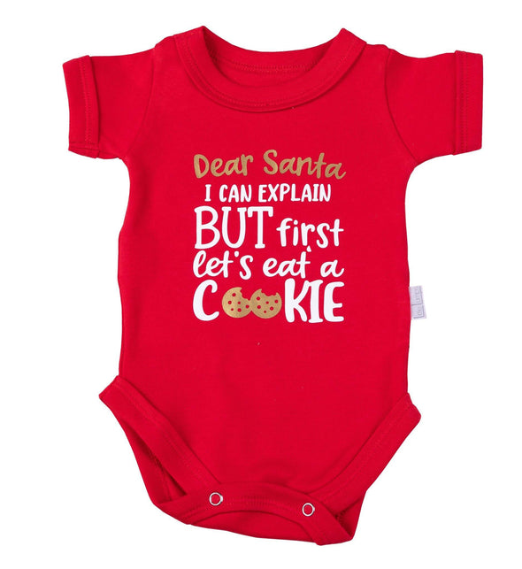 "Christmas ""I can explain, but first let's eat a cookie"" Onesie"