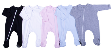 100% Cotton Infant Zip Opening Babygro