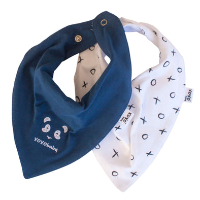 Panda and denim blue bandana bibs