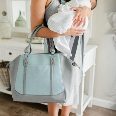 Mom and Baby Handbag - Charmaine Angel Blue & Cool Grey