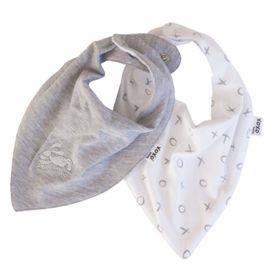 Bunny and dove grey bandana bibs