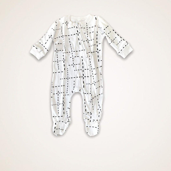 Zip Babygro - White Dashed Lines