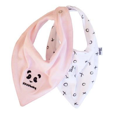 Panda and pink soft bandana bibs