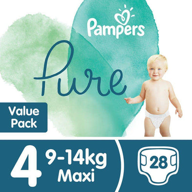 Pampers Pure Protection - Size 4 Value Pack - 28 Nappies