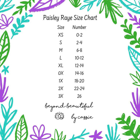 Paisley Raye Size Chart by Beyond Beautiful by Cassie, shop now at http://beyondbeautifulbycassie.com/