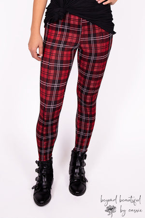 Red/Black Plaid Pixie Pants by Paisley Raye with Beyond Beautiful by Cassie, shop now at http://beyondbeautifulbycassie.com/