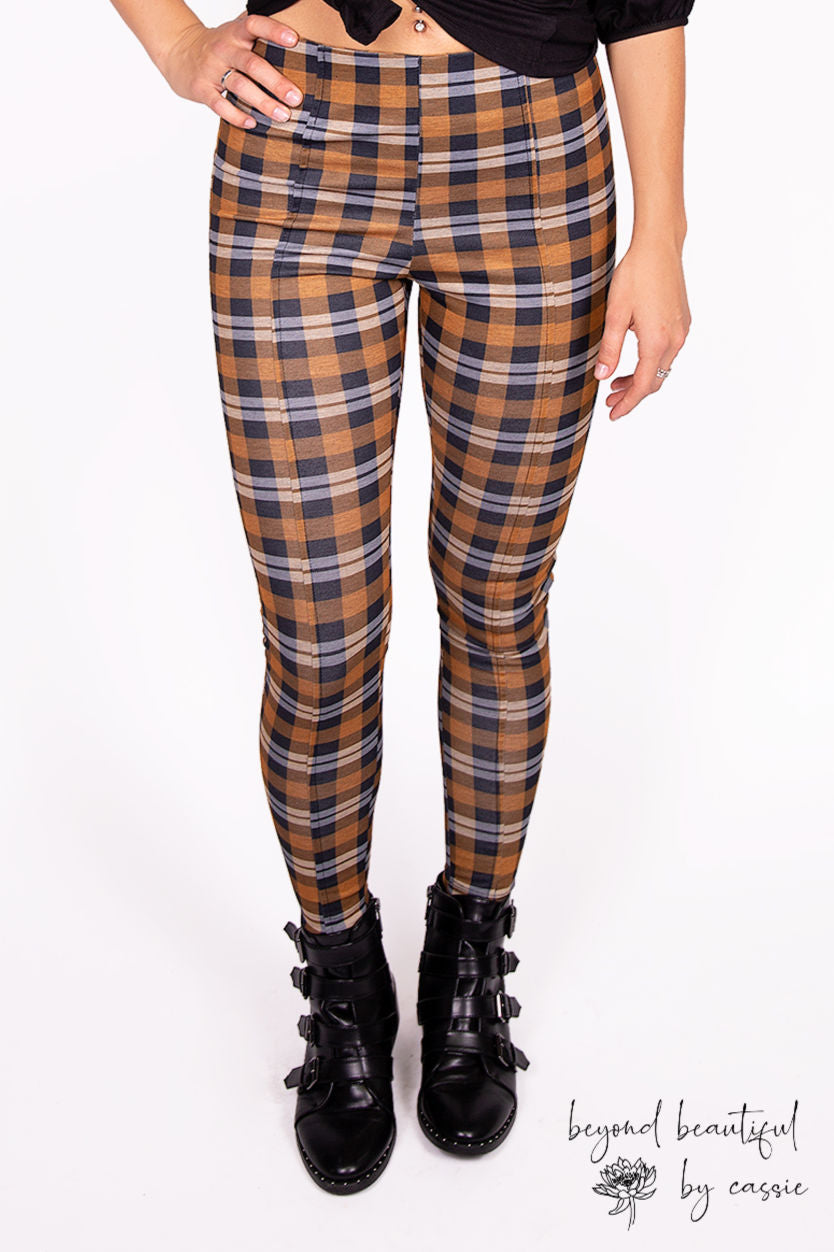 Gold/Navy Plaid Pixie Pants by Paisley Raye with Beyond Beautiful by Cassie, shop now at http://beyondbeautifulbycassie.com/