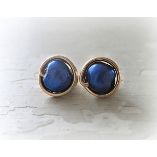 Blue Freshwater Pearl Earrings