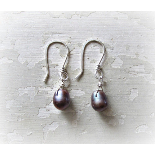 Peacock Freshwater Pearl Sterling Dangle Earrings