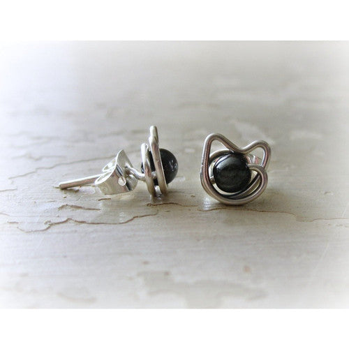 Hematite + Sterling Cat Stud Earrings