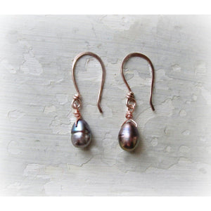 Peacock Freshwater Pearl Drops Rose Gold Dangle Earrings