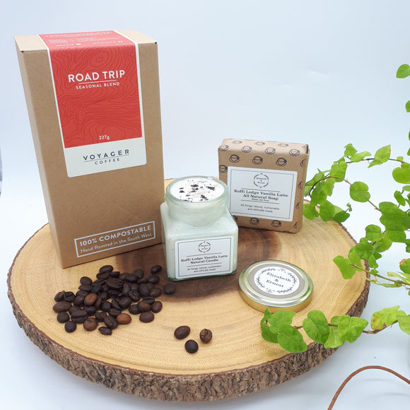 Coffee Lovers Eco Gift Box | Ground Coffee Pouch | Soy Wax Candle | Palm Oil Free Soap Bar | For Any Occasion