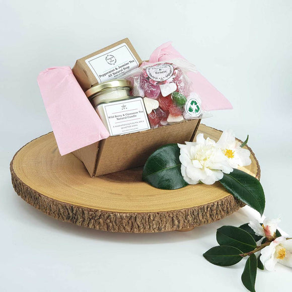 'Joy' Gift Box For Her | Sustainable Plastic Free Gift Box | Soy Wax Candle | Natural Soap | Vegan Sweets