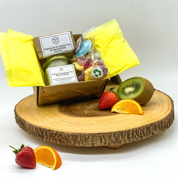 Summer Themed Eco-Friendly 'Pick Me Up' Gift Box | Sustainable Plastic-Free | Soy Wax Candle | Natural Soap Bar | Vegan Sweets | Spa Gift |