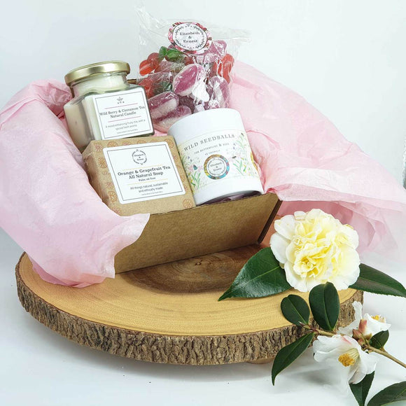 Eco Gift Box For Her | Soy Wax Candle | Natural Soap Bar | Seed Balls | Vegan Pick 'n' Mix |