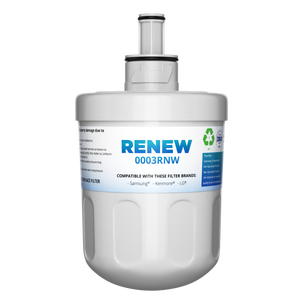 Renew 0003RNW Replacement Water Filter - Fits Samsung Aqua-Pure Plus DA29-00003G, RF263AEBP, RS22HDHPNSR, and more!
