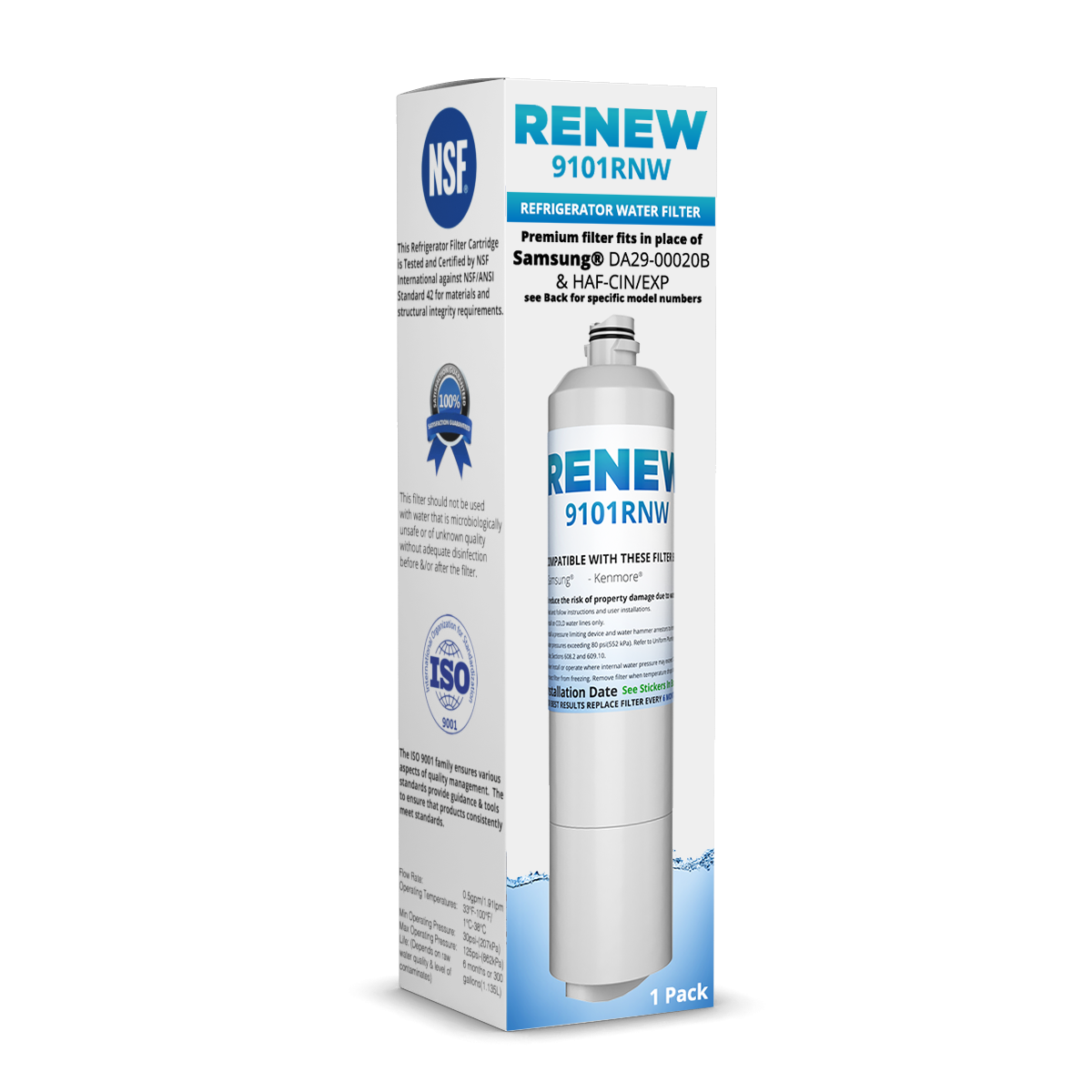 Renew 9101RNW Replacement Water Filter - Fits Samsung DA29-00020B, RF23HCEDBBC/AA, RS25H5000SR, and more!