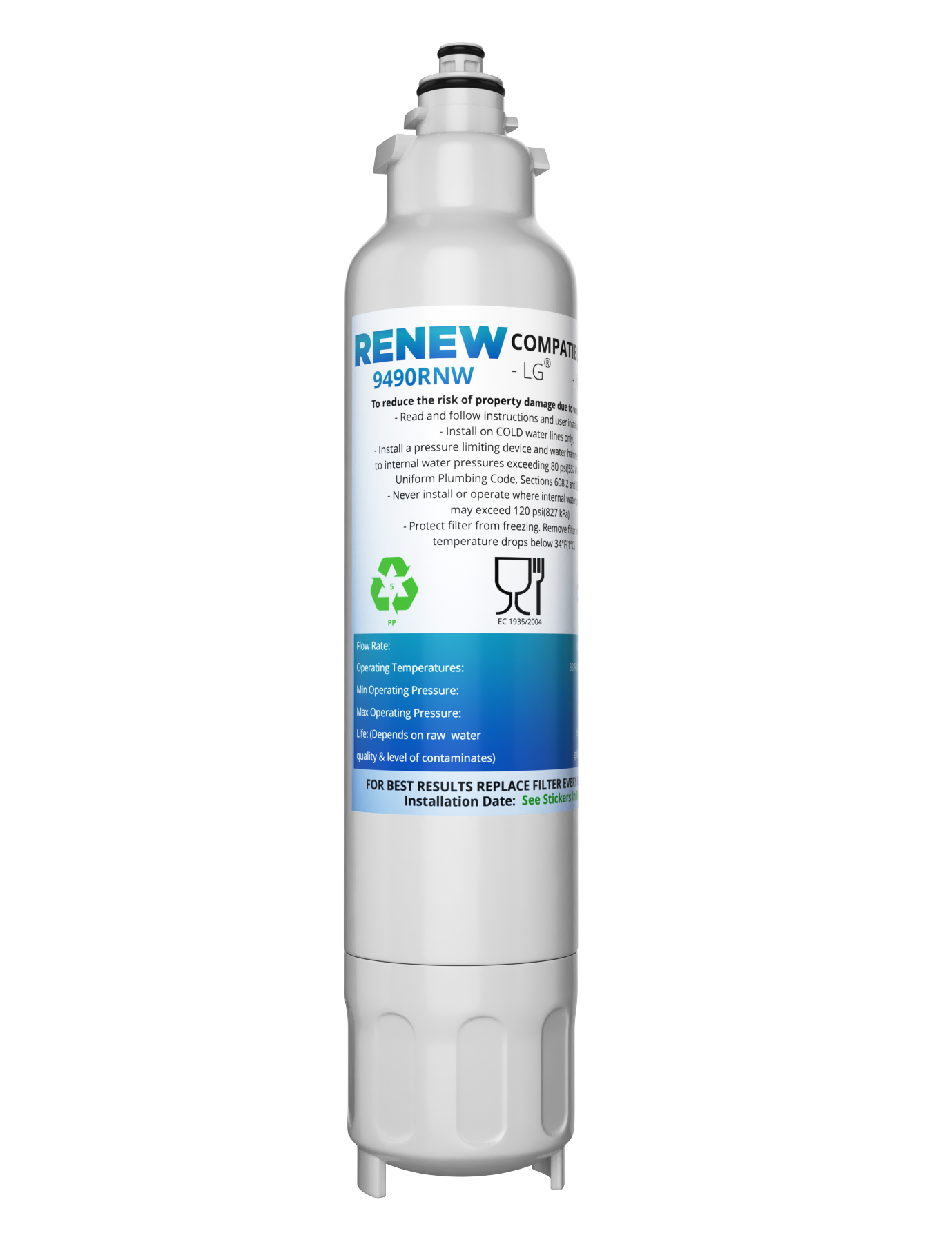 Renew 9490RNW Replacement Water Filter - Fits Kenmore 9490, 469490, ADQ73613402, and more!