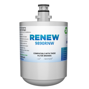 Renew 9890RNW Replacement Water Filter - Fits LG LT500P, LFX25973ST, LMX25964ST, and more!