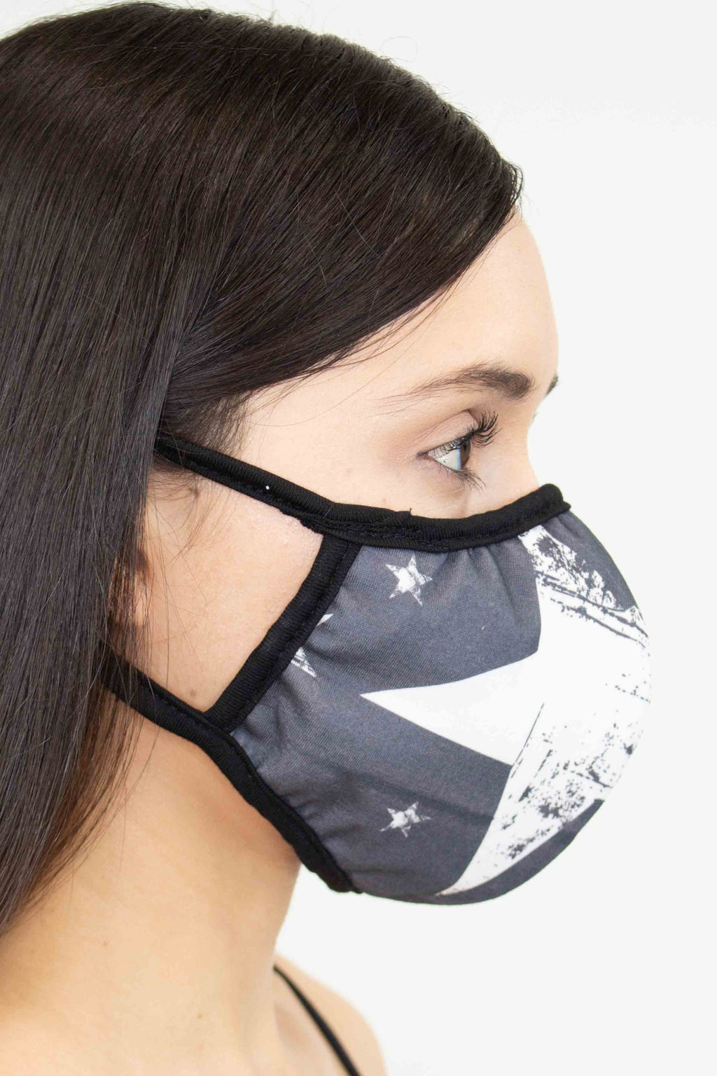 Star Print Face Mask - Black